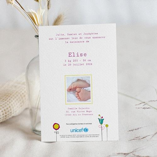 Faire-Part Naissance Fille UNICEF Fleurs de Bonheur pas cher