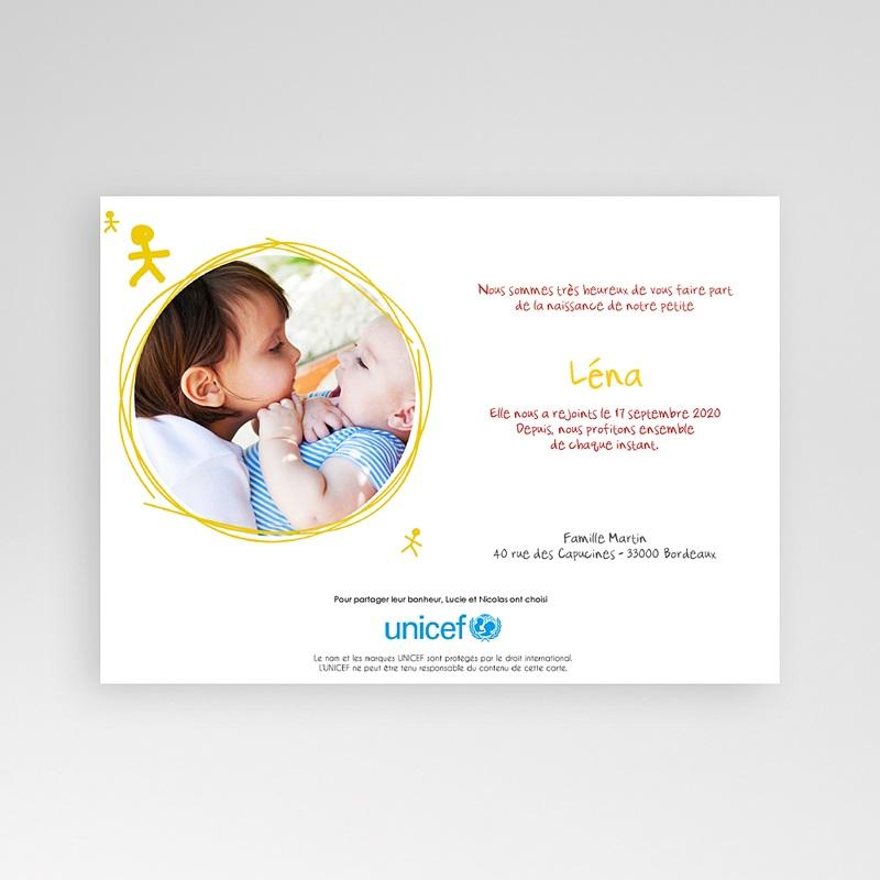 Faire-Part Naissance Fille UNICEF Bonhommies Roses pas cher