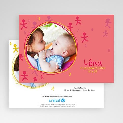 Faire-Part Naissance Fille UNICEF Bonhommies Roses gratuit