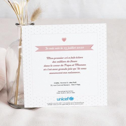 Faire-Part Naissance Fille UNICEF - Esprit Sage et Rose 46023 thumb