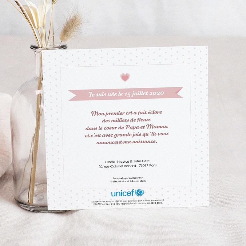 Faire-Part Naissance Fille UNICEF Esprit Sage et Rose pas cher