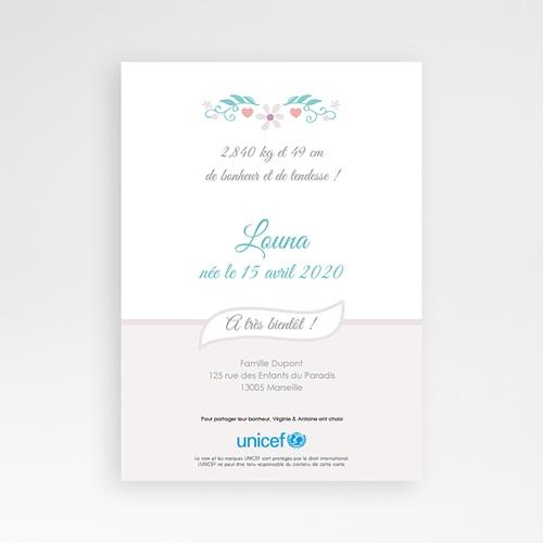 Faire-Part Naissance Fille UNICEF Printanière pas cher