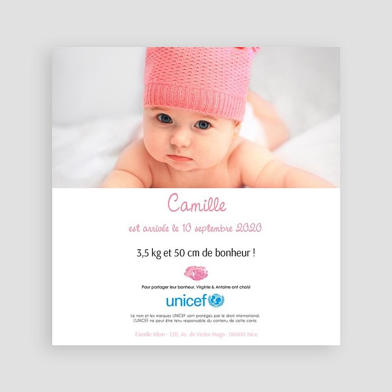 Faire-Part Naissance Fille UNICEF L'été poudré pas cher