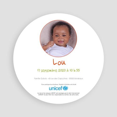 Faire-Part Naissance Fille UNICEF - Ronde enfantine 46034 thumb