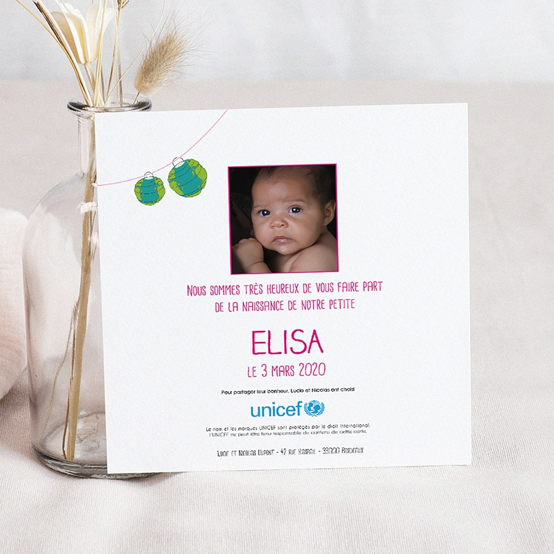 Faire-Part Naissance Fille UNICEF Planete Rose pas cher