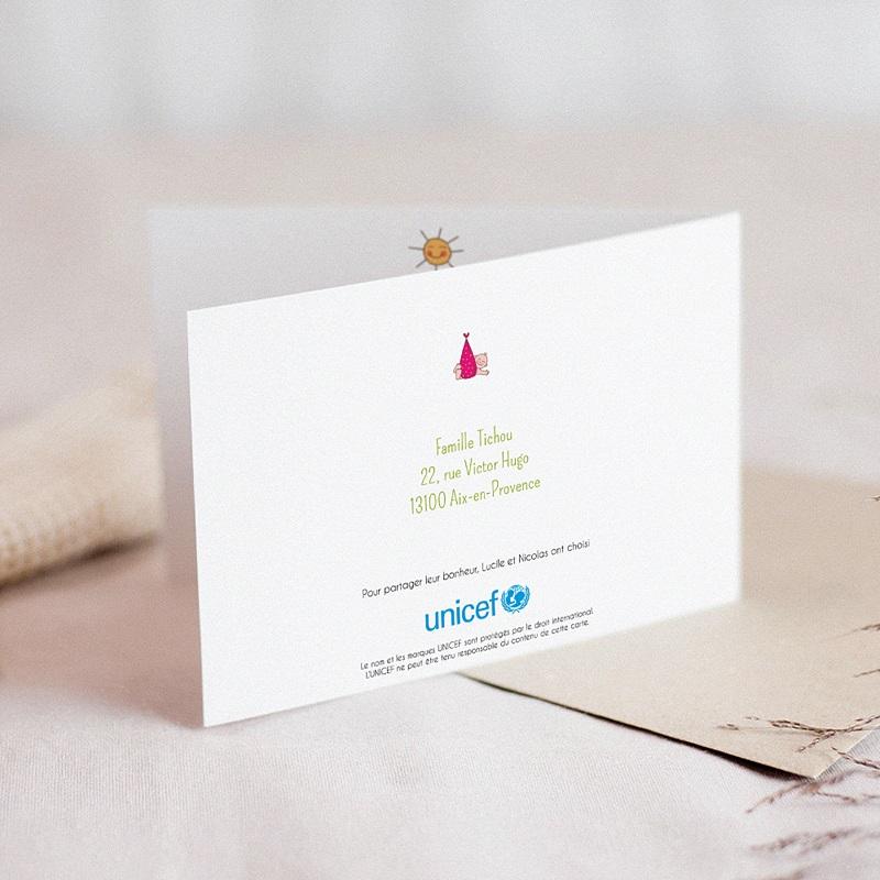 Faire-Part Naissance Fille UNICEF Cigogne en livraison gratuit