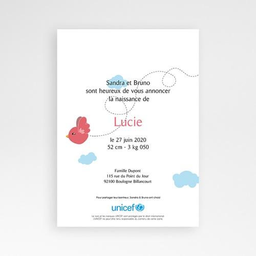 Faire-Part Naissance Fille UNICEF Piou Rouge pas cher