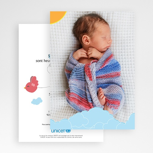 Faire-Part Naissance Fille UNICEF - Piou Rouge 46057 thumb
