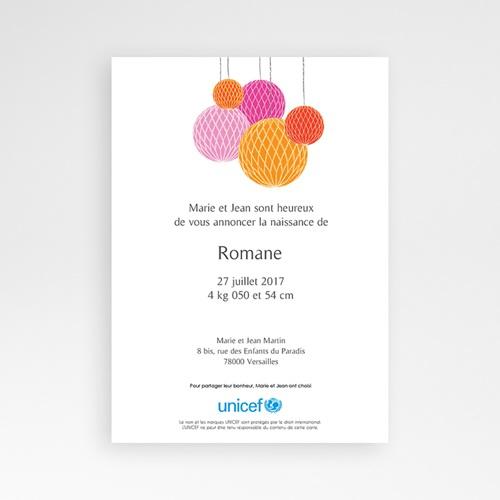 Faire-Part Naissance Fille UNICEF - Lampions de Joie 46059 preview