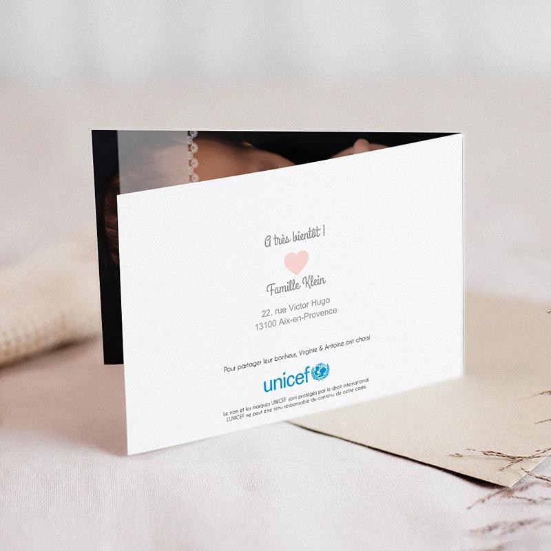 Faire-Part Naissance Fille UNICEF Dentelle Douce gratuit