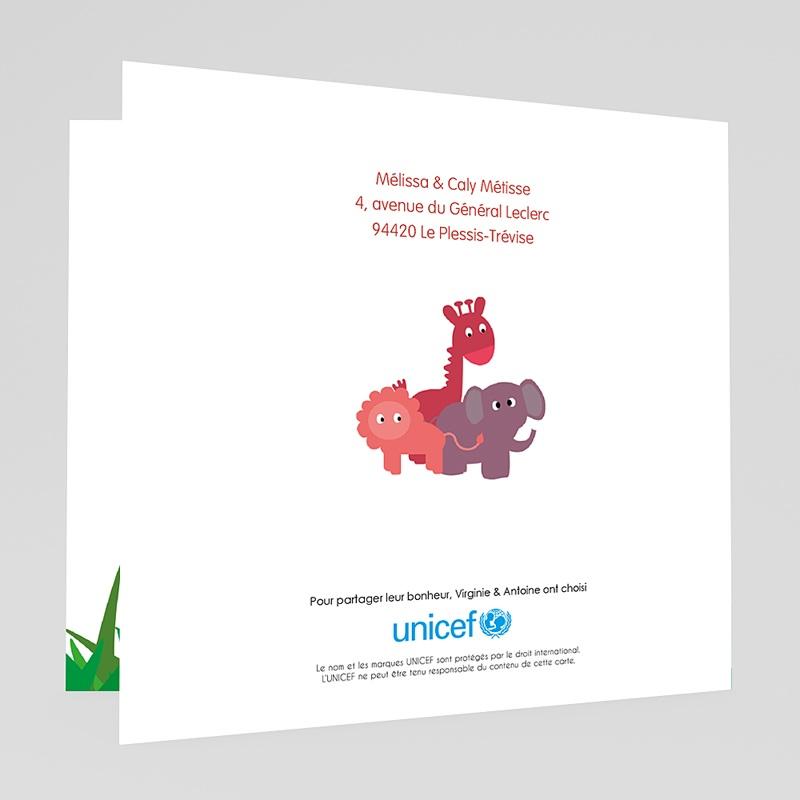 Faire-Part Naissance Fille UNICEF Safari du Bonheur gratuit