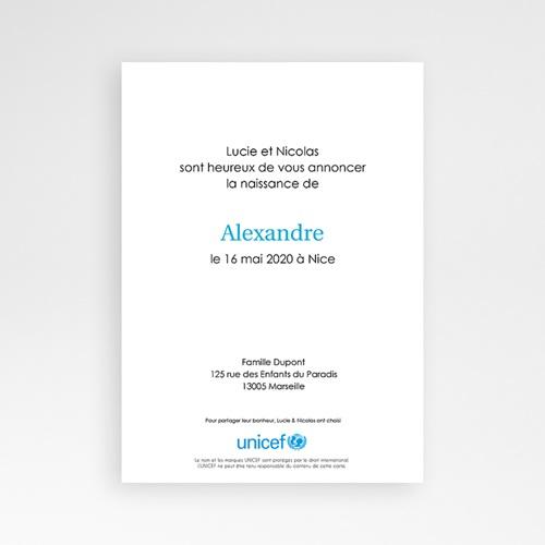 Faire-Part Naissance Garçon UNICEF - Oiseau du Paradis 46072 preview