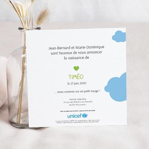 Faire-Part Naissance Garçon UNICEF Nuage Bleu pas cher