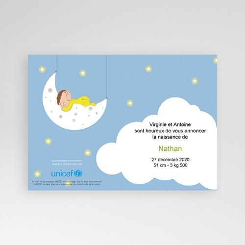 Faire-Part Naissance Garçon UNICEF Clair de Lune pas cher
