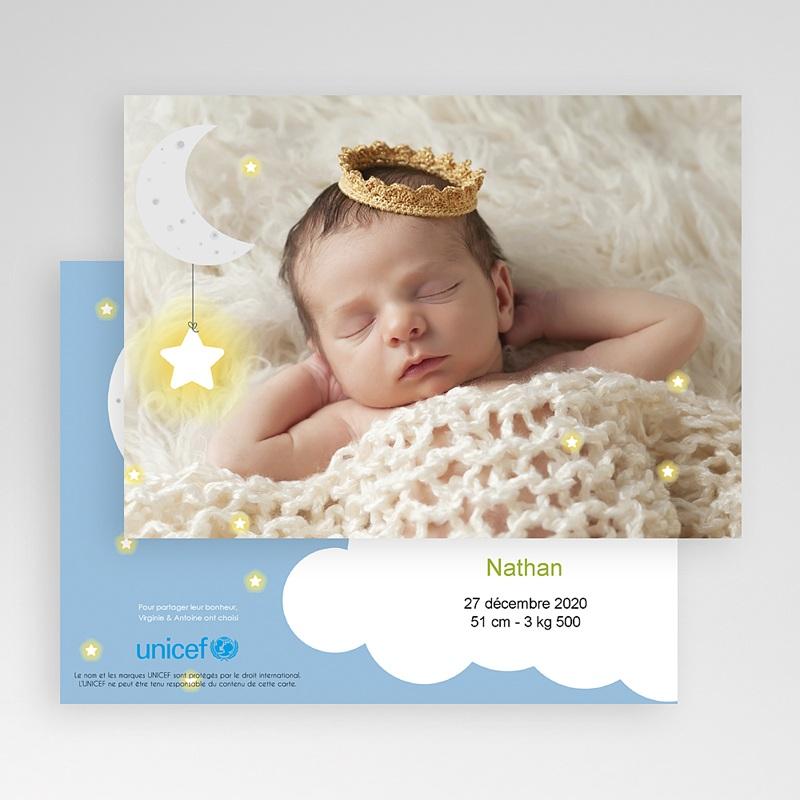 Faire-Part Naissance Garçon UNICEF Clair de Lune gratuit