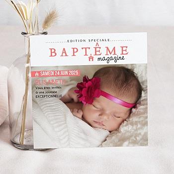 Faire-part baptême fille façon magazine pas cher