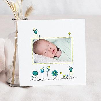 Faire-part naissance garçon unicef petites fleurs bleues pas cher