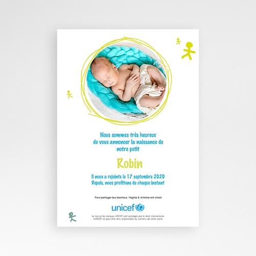 Faire-Part Naissance Garçon UNICEF - Bonhommes Bleus 46119 preview
