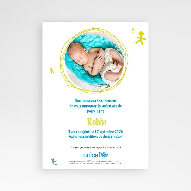 Faire-Part Naissance Garçon UNICEF Bonhommes Bleus pas cher