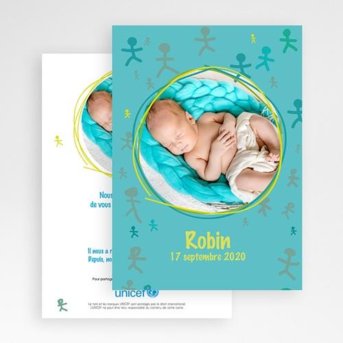 Faire-Part Naissance Garçon UNICEF - Bonhommes Bleus 46120 preview