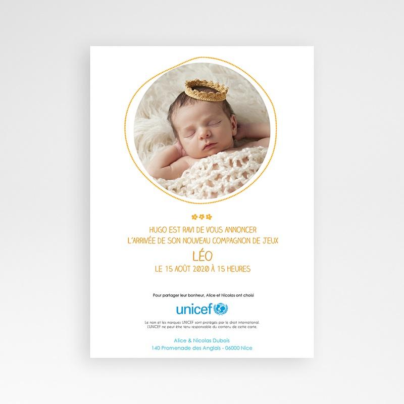 Faire-Part Naissance Garçon UNICEF Jardin ensoleillé pas cher