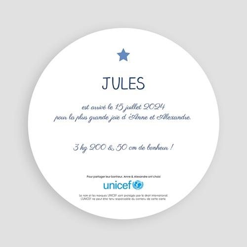 Faire-Part Naissance Garçon UNICEF Bleu Etoilé pas cher
