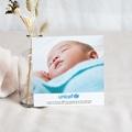 Carte Remerciement Naissance UNICEF Pois de senteur Bleu pas cher