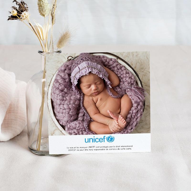 Carte Remerciement Naissance UNICEF Dessin d'écolier pas cher