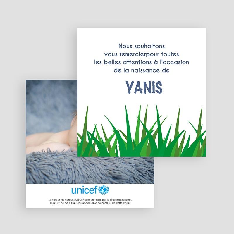Carte Remerciement Naissance UNICEF Safari du coeur gratuit