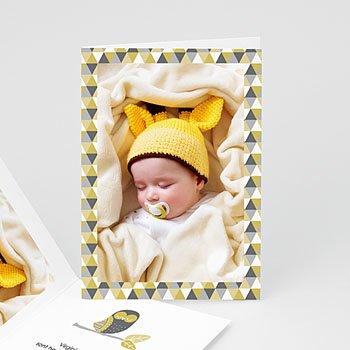 Faire-part naissance garçon unicef chouette et damier pas cher