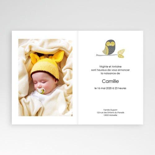Faire-Part Naissance Garçon UNICEF - Chouette et Damier 46188 thumb
