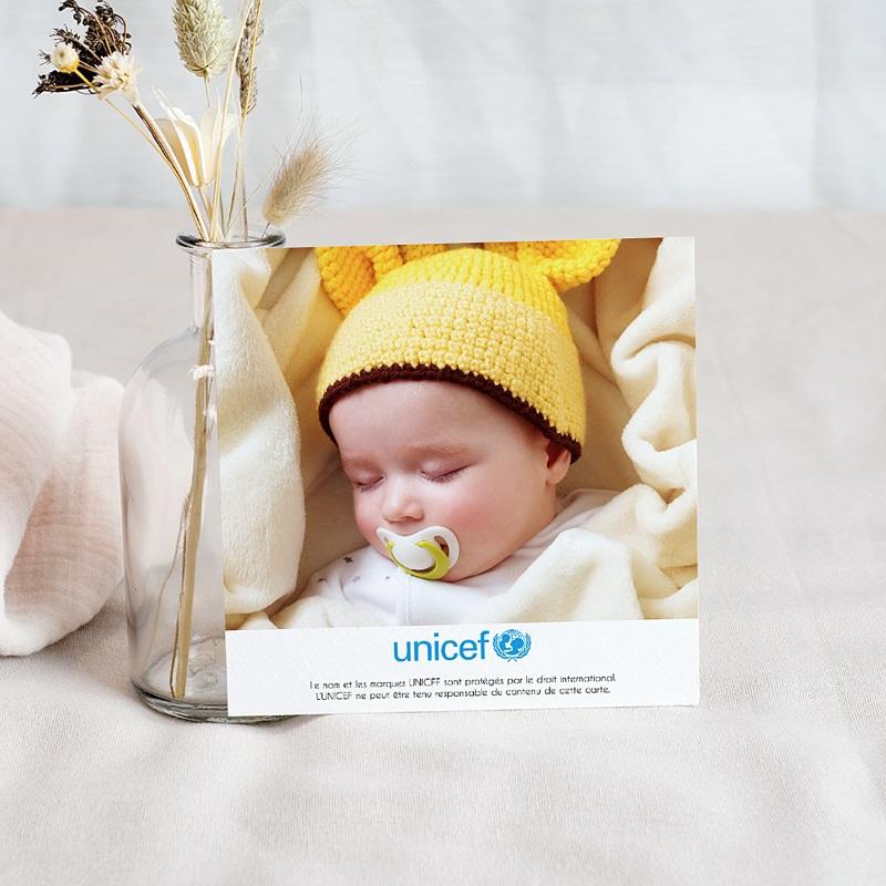 Carte Remerciement Naissance UNICEF Chouette et Damier pas cher