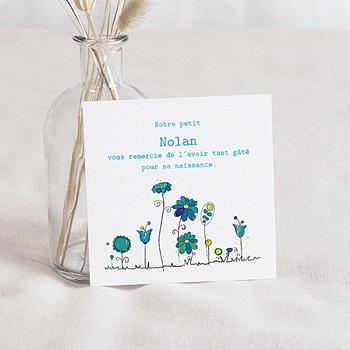 Achat remerciement naissance unicef petites fleurs bleues