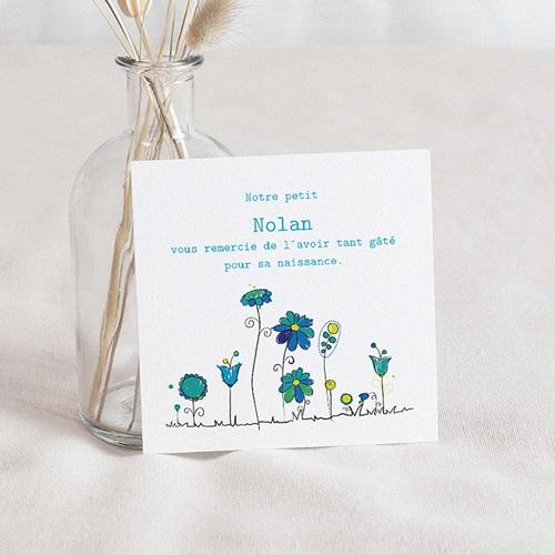 Carte Remerciement Naissance UNICEF Petites Fleurs Bleues