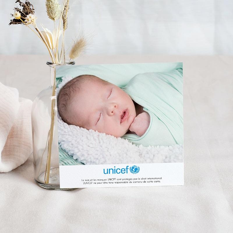 Carte Remerciement Naissance UNICEF Petites Fleurs Bleues pas cher