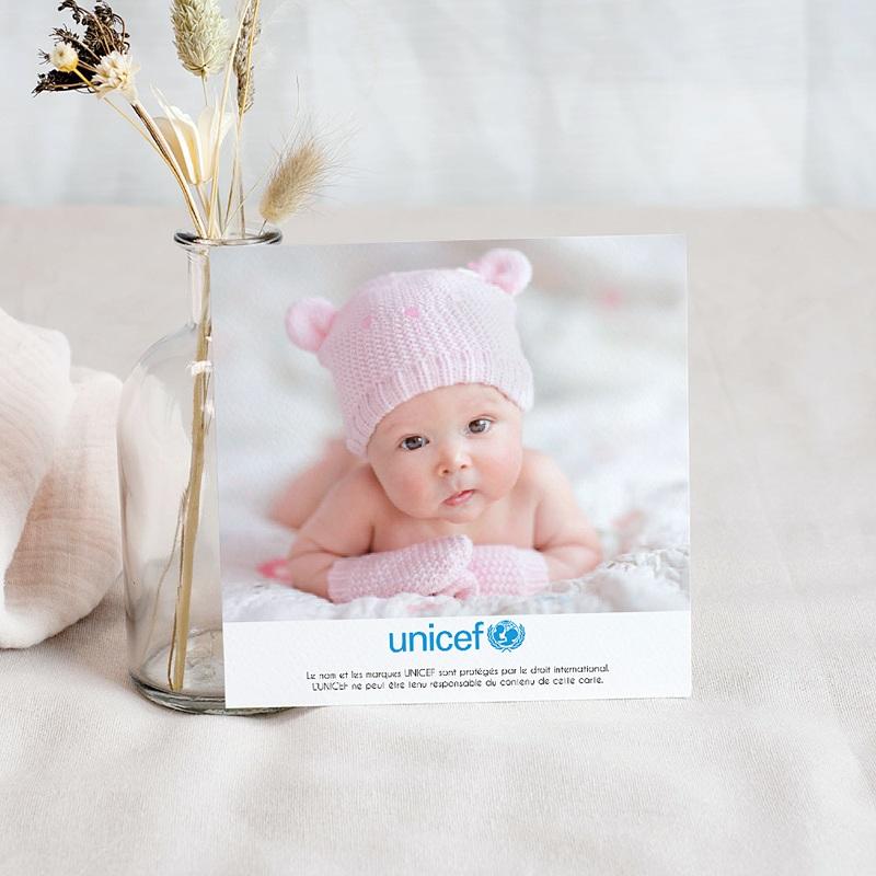 Carte Remerciement Naissance UNICEF Gommettes Fuchsia pas cher