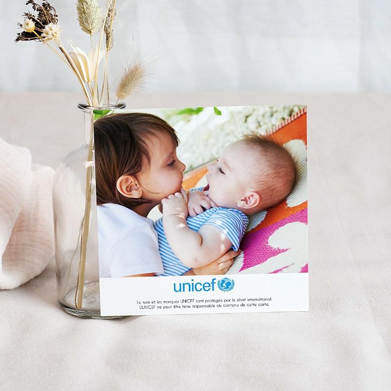 Carte Remerciement Naissance UNICEF Bonhommies Roses pas cher