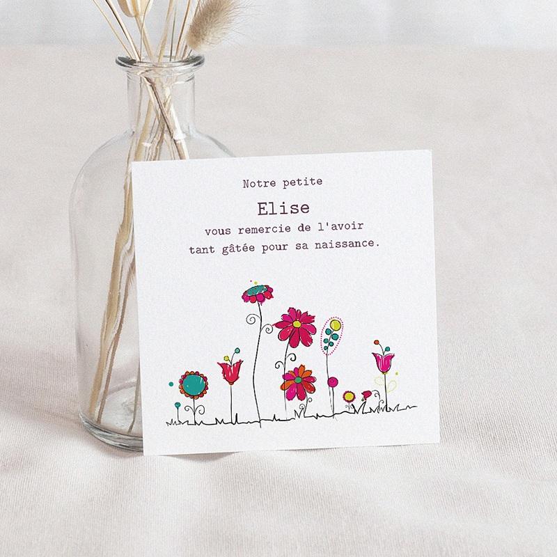 Carte Remerciement Naissance UNICEF Fleurs de Bonheur