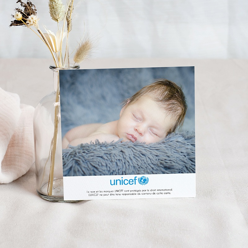 Carte Remerciement Naissance UNICEF Bleu Etoilé pas cher