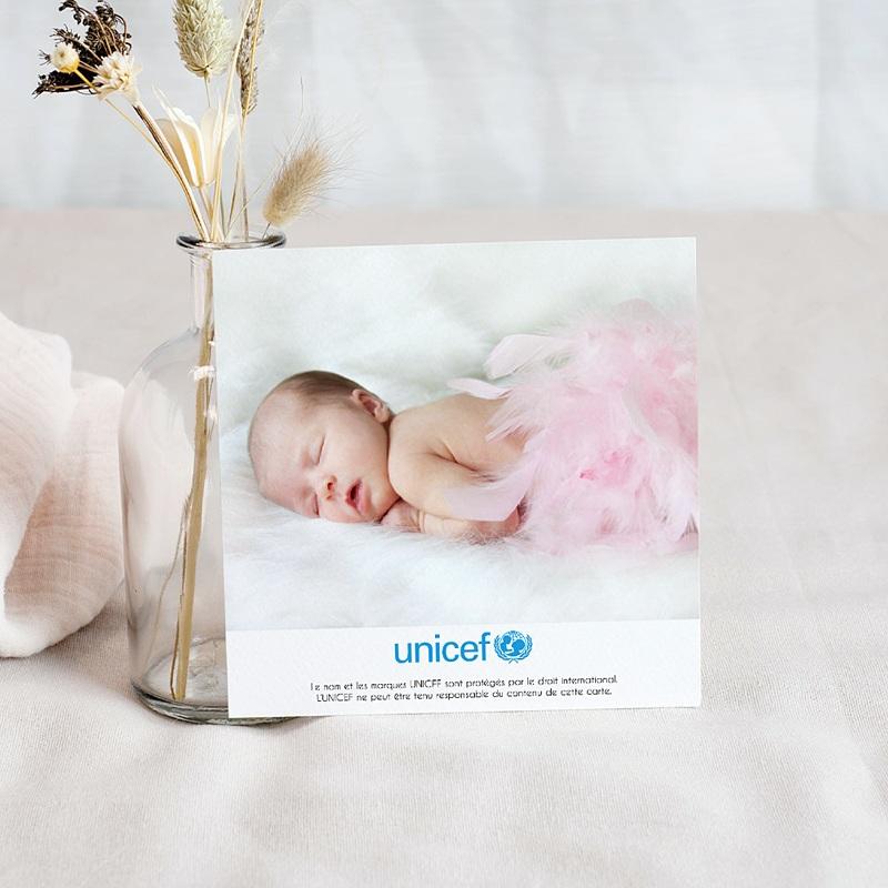 Carte Remerciement Naissance UNICEF Rose Etoilée pas cher