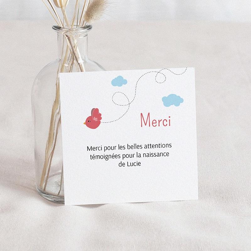 Carte Remerciement Naissance UNICEF Piou Rouge