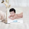 Carte Remerciement Naissance UNICEF Biche rose à pois pas cher