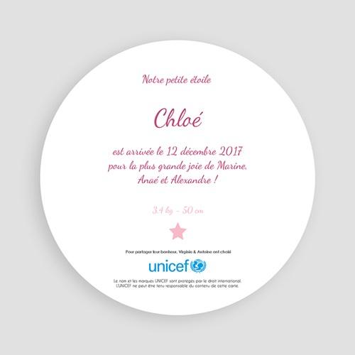 Faire-Part Naissance Fille UNICEF - Rose Etoilée 46305 thumb