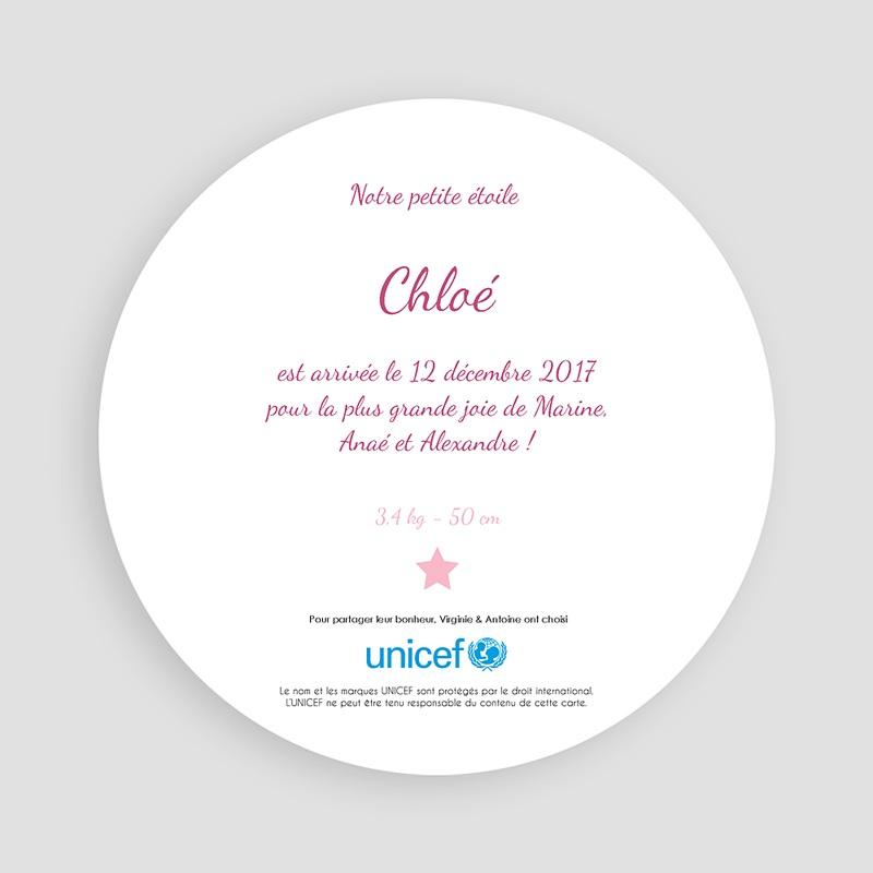 Faire-Part Naissance Fille UNICEF Rose Etoilée pas cher