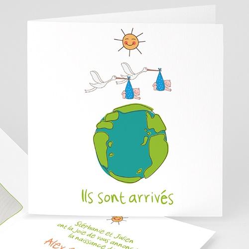 Faire-Part Naissance Jumeaux UNICEF - Cigognes, livraison Jumeaux 46306