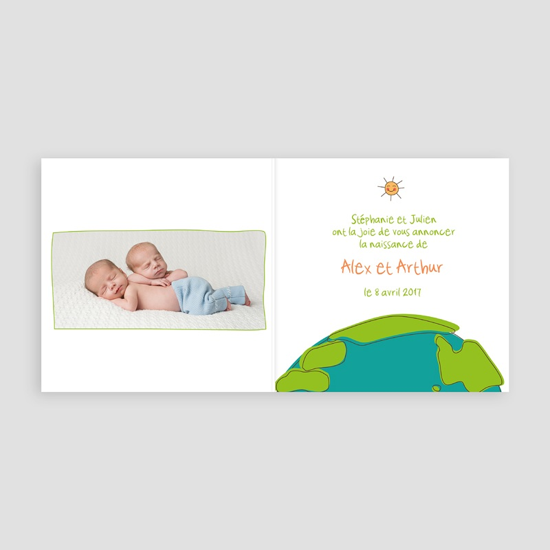 Faire-Part Naissance Jumeaux UNICEF Cigognes, livraison Jumeaux pas cher