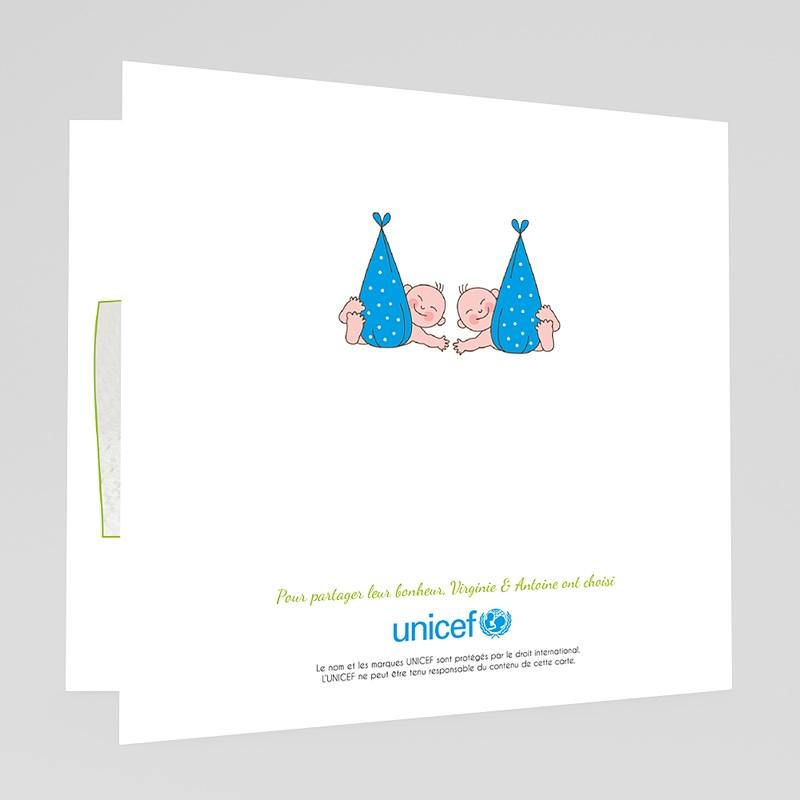 Faire-Part Naissance Jumeaux UNICEF Cigognes, livraison Jumeaux gratuit