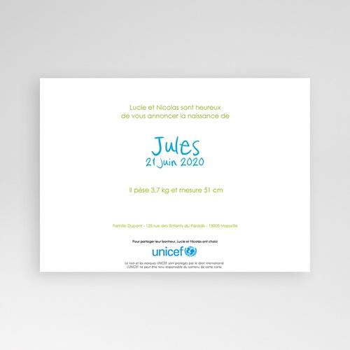 Faire-Part Naissance Garçon UNICEF - Mains levées 46310 thumb