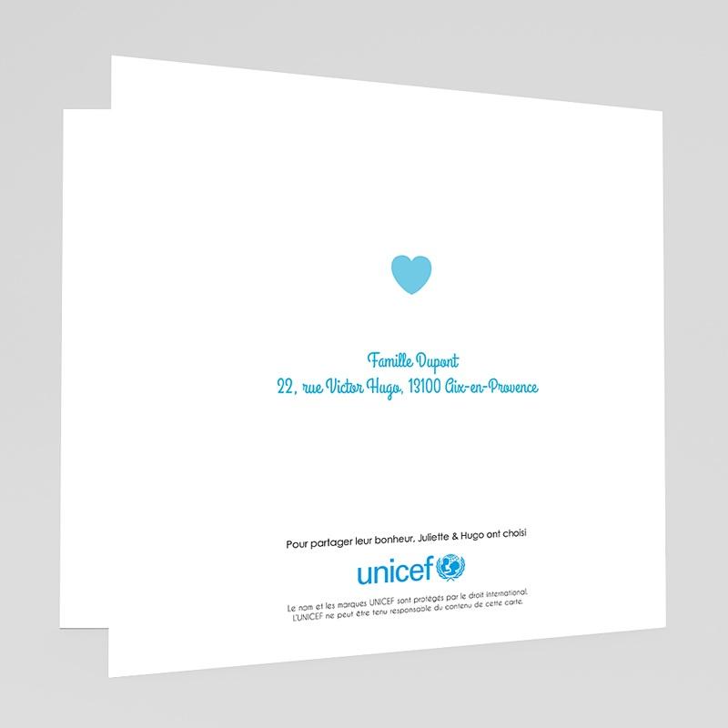 Faire-Part Naissance Garçon UNICEF Coeur Bleu gratuit