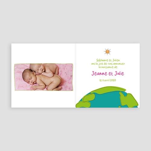 Faire-Part Naissance Jumeaux UNICEF - Cigognes, livraison de jumelles 46316 preview